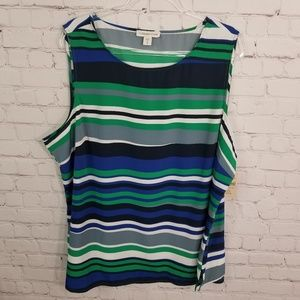 New Coldwater Creek striped sleeveless blouse